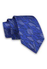 Alties - Granatowo-Niebieski Elegancki Męski Krawat -ALTIES- 7cm, Stylowy, Klasyczny, w Listki, Liście. Kolor: niebieski. Materiał: tkanina. Wzór: kwiaty. Styl: klasyczny, elegancki