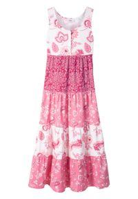 Letnia sukienka dziewczęca bonprix biel wełny - jeżynowo-czerwony. Kolor: biały. Materiał: wełna. Sezon: lato #1