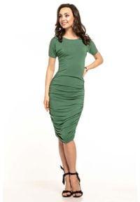 Tessita - Zielona Dopasowana Midi Sukienka z Drapowaniami. Kolor: zielony. Materiał: wiskoza, akryl, elastan. Długość: midi