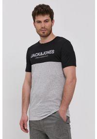 Jack & Jones - T-shirt. Okazja: na co dzień. Kolor: czarny. Materiał: bawełna. Wzór: nadruk. Styl: casual
