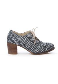 Zapato - sznurowane półbuty na 6 cm słupku - skóra naturalna - model 251 - kolor szara pepitka. Kolor: szary. Materiał: skóra. Obcas: na słupku