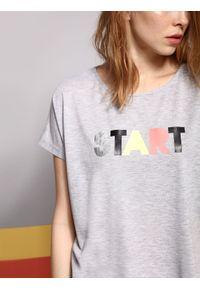 Szary t-shirt DRYWASH z krótkim rękawem, na lato, melanż