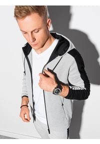 Ombre Clothing - Bluza męska rozpinana z kapturem B1159 - szara - XXL. Typ kołnierza: kaptur. Kolor: szary. Materiał: bawełna, poliester