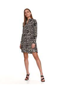 Czarna sukienka TOP SECRET z motywem zwierzęcym, koszulowa