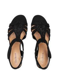 Czarne sandały Clara Barson casualowe, z aplikacjami