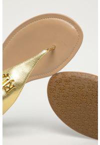 Złote sandały Lauren Ralph Lauren bez obcasa, na klamry