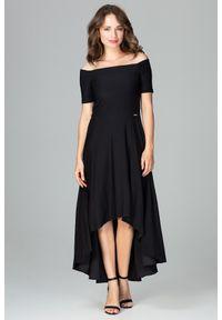 Sukienka koktajlowa gładkie, elegancka, asymetryczna