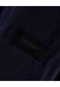 YVES SALOMON PARIS - Granatowa parka z kapturem. Typ kołnierza: kaptur. Kolor: niebieski. Materiał: futro. Długość rękawa: długi rękaw. Długość: długie. Wzór: aplikacja