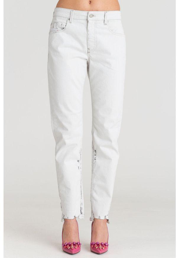 Białe jeansy Diesel z podwyższonym stanem, klasyczne