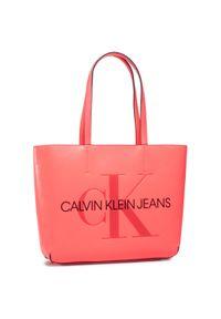 Różowa shopperka Calvin Klein skórzana, klasyczna