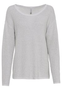 Sweter oversize bonprix szary kamienisty melanż. Kolor: szary. Wzór: melanż