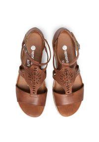 Brązowe sandały Remonte na obcasie, casualowe, na średnim obcasie, na co dzień