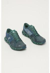 Turkusowe buty sportowe On Running z cholewką, z okrągłym noskiem, na sznurówki