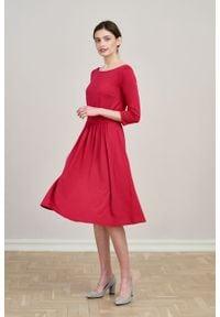 Marie Zélie - Sukienka Limosa czerwień perska mikromodal. Kolor: czerwony. Materiał: wiskoza, dzianina, elastan, włókno, skóra. Długość: midi