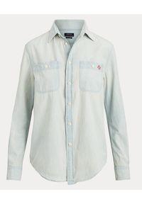 Ralph Lauren - RALPH LAUREN - Koszula jeansowa. Okazja: na co dzień. Typ kołnierza: polo. Kolor: niebieski. Materiał: jeans. Długość rękawa: długi rękaw. Długość: długie. Wzór: aplikacja, nadruk. Styl: casual