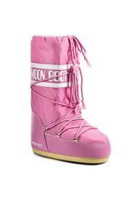 Różowe śniegowce Moon Boot z cholewką, na zimę