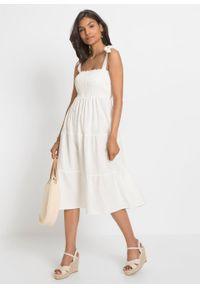 Sukienka midi lniana bonprix biel wełny. Kolor: biały. Materiał: len, wełna. Długość rękawa: na ramiączkach. Długość: midi