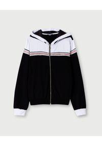 Liu Jo - LIU JO - Czarna bluza z aplikacją. Kolor: czarny. Materiał: satyna, materiał. Wzór: aplikacja. Styl: sportowy
