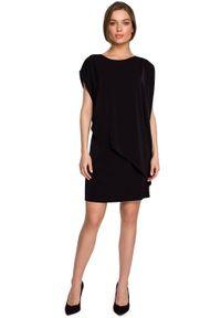 Style - Prosta sukienka warstwowa z asymetryczną falbaną czarna. Kolor: czarny. Materiał: tkanina, elastan. Typ sukienki: proste, asymetryczne