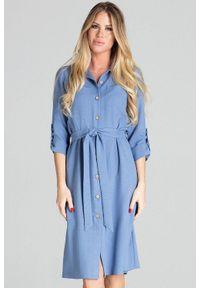 Figl - Koszulowa sukienka szmizjerka z podpinanym rękawem 3/4 niebieska. Okazja: do pracy, na uczelnię, na imprezę. Kolor: niebieski. Typ sukienki: koszulowe, szmizjerki