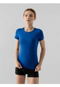 4f - Koszulka treningowa regular szybkoschnąca damska. Kolor: niebieski. Materiał: skóra, włókno, dzianina