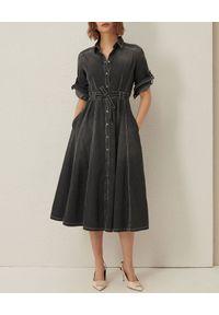 Marella - MARELLA - Denimowa sukienka midi Tonaca. Okazja: na co dzień. Kolor: czarny. Materiał: bawełna, denim. Typ sukienki: koszulowe, rozkloszowane. Styl: casual. Długość: midi