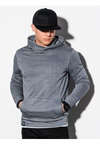 Ombre Clothing - Bluza męska z kapturem B1079 - szary melanż - XXL. Typ kołnierza: kaptur. Kolor: szary. Materiał: poliester, bawełna. Wzór: melanż