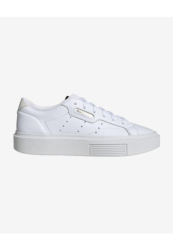 Białe tenisówki adidas Originals na sznurówki, w kolorowe wzory, z okrągłym noskiem