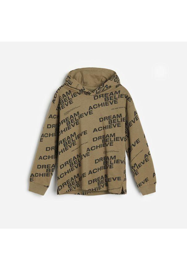 Brązowa bluza Reserved z kapturem, z napisami