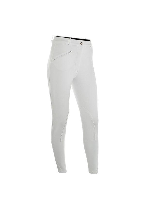 FOUGANZA - Bryczesy na zawody 100 damskie. Kolor: biały. Materiał: elastan, materiał, bawełna