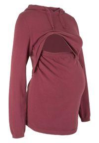 Czerwony sweter bonprix z kapturem, moda ciążowa