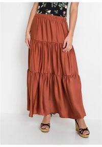 Spódnica z falban z poliestru z recyklingu bonprix brązowy marsala. Kolor: czerwony. Materiał: poliester. Długość: długie