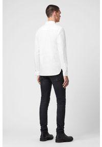 Biała koszula AllSaints z klasycznym kołnierzykiem, casualowa, na co dzień, długa