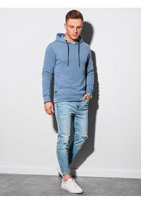 Ombre Clothing - Bluza męska z kapturem B1155 - niebieska - XXL. Typ kołnierza: kaptur. Kolor: niebieski. Materiał: dzianina, dresówka, jeans, poliester, bawełna