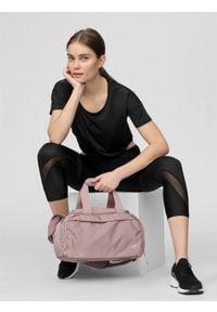 4f - Koszulka treningowa damska. Kolor: czarny. Materiał: włókno, dzianina. Sport: fitness