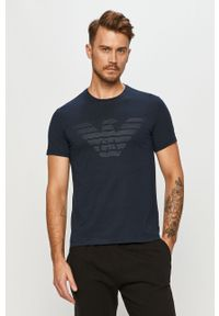 Niebieski t-shirt Emporio Armani z nadrukiem, casualowy, na co dzień