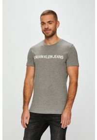 Calvin Klein Jeans - T-shirt. Okazja: na co dzień. Kolor: szary. Materiał: dzianina. Styl: casual
