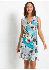 Sukienka ołówkowa z falbaną bonprix niebiesko-biały w kwiaty. Kolor: niebieski. Wzór: kwiaty. Typ sukienki: ołówkowe #6