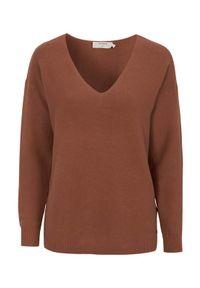 Cream Sweter bawełniany Sillar Jasnobeżowy female beżowy/brązowy XXL (46). Typ kołnierza: dekolt w serek. Kolor: beżowy, brązowy, wielokolorowy. Materiał: bawełna. Styl: elegancki