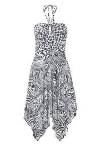 Sukienka bonprix czarno-biel wełny w paski zebry. Kolor: czarny. Materiał: wełna. Wzór: motyw zwierzęcy, paski