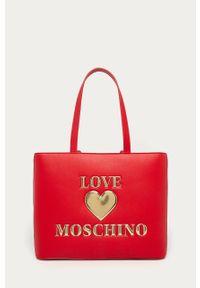 Czerwona shopperka Love Moschino na ramię, z aplikacjami, duża