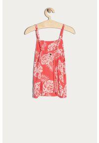 Różowy t-shirt Roxy na co dzień, na ramiączkach, casualowy