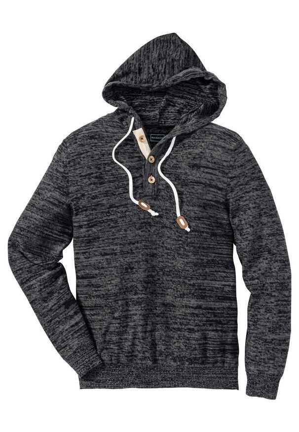Szary sweter bonprix z kapturem, melanż