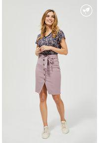 MOODO - Spódnica różowa z wysokim stanem lyocell z wiązaniem. Stan: podwyższony. Kolor: różowy. Materiał: lyocell. Wzór: gładki
