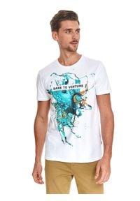 TOP SECRET - T-shirt z nadrukiem. Kolor: biały. Materiał: tkanina, bawełna. Długość rękawa: krótki rękaw. Długość: krótkie. Wzór: nadruk. Sezon: lato. Styl: wakacyjny, klasyczny