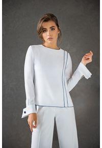 Biała bluzka VEVA z aplikacjami, z klasycznym kołnierzykiem, klasyczna
