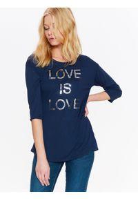 TOP SECRET - T-shirt rękaw 3/4 damski, z błyszczącym napisem. Okazja: na co dzień. Kolor: niebieski. Długość rękawa: krótki rękaw. Wzór: napisy. Sezon: wiosna, lato. Styl: elegancki, casual