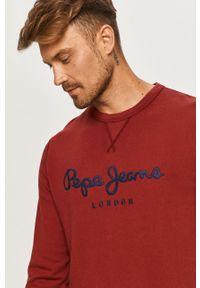 Brązowa bluza nierozpinana Pepe Jeans z aplikacjami, na co dzień, z okrągłym kołnierzem