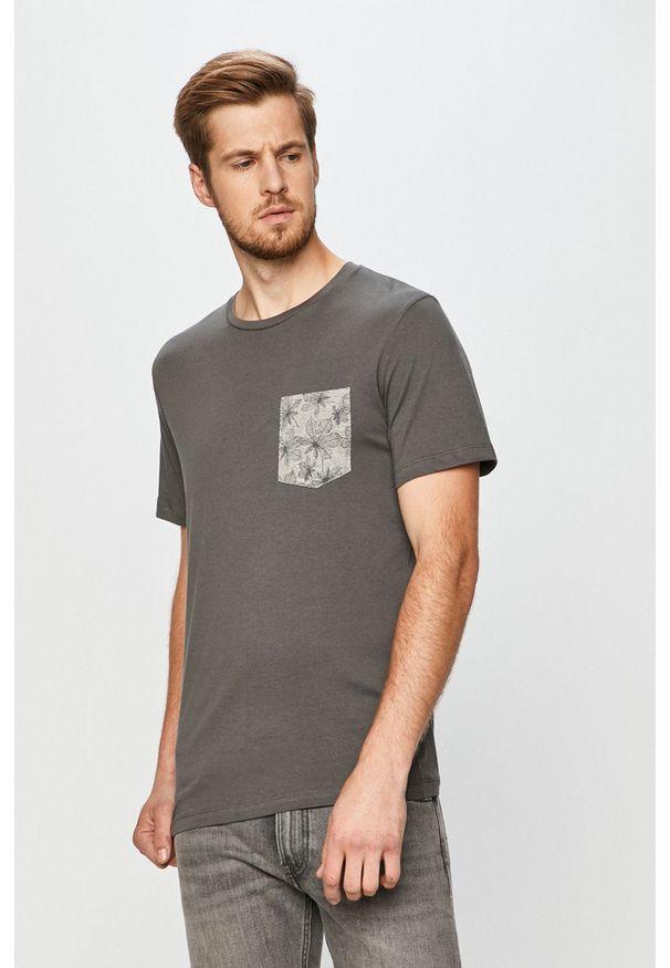 Szary t-shirt PRODUKT by Jack & Jones na co dzień, z okrągłym kołnierzem, z nadrukiem