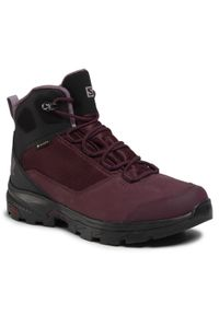 Fioletowe buty trekkingowe salomon Gore-Tex, z cholewką, trekkingowe